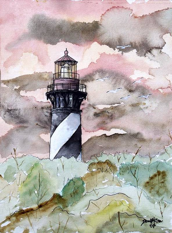 Lighthouse Art Print featuring the painting St Augustine Lighthouse by Derek Mccrea