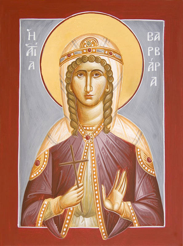 St Barbara Art Print featuring the painting St Barbara by Julia Bridget Hayes