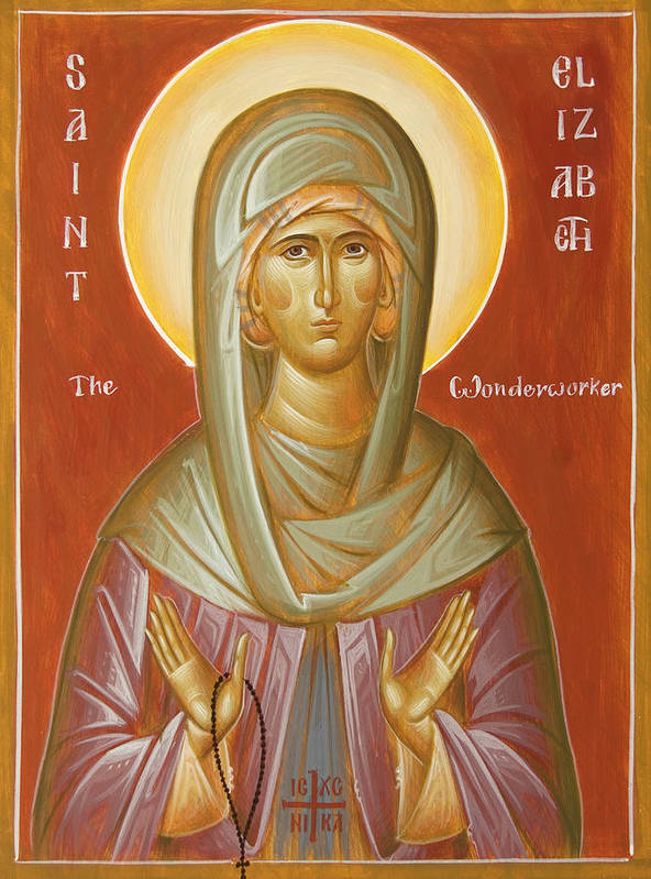 St Elizabeth The Wonderworker Art Print featuring the painting St Elizabeth The Wonderworker by Julia Bridget Hayes