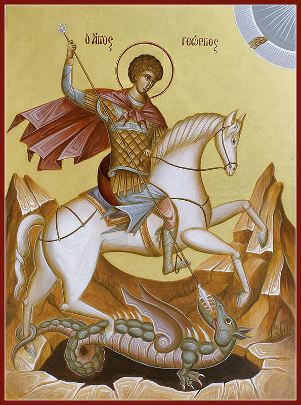 Icon Art Print featuring the painting St George by Julia Bridget Hayes