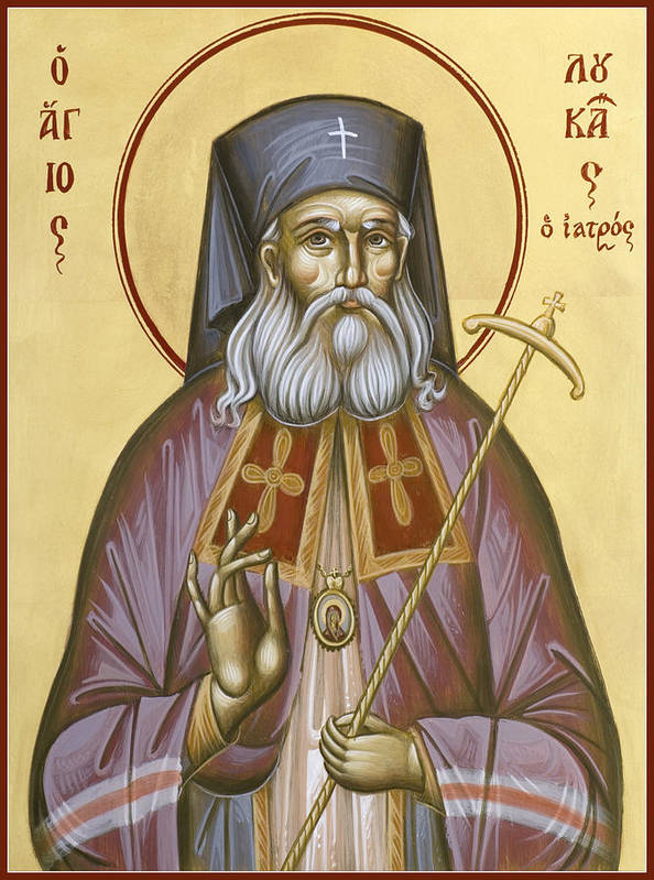 St Luke Of The Surgeon Print featuring the painting St Luke The Surgeon Of Simferopol by Julia Bridget Hayes