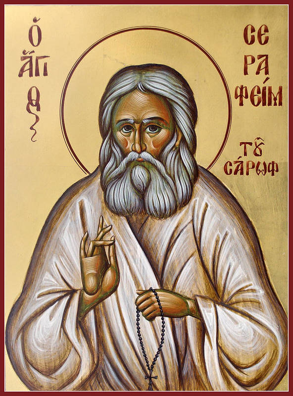 Icon Print featuring the painting St Seraphim Of Sarov by Julia Bridget Hayes