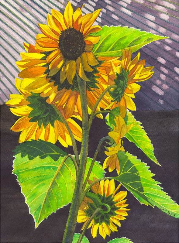 Sunflowers Art Print featuring the painting Stalk Of Sunflowers by Catherine G McElroy