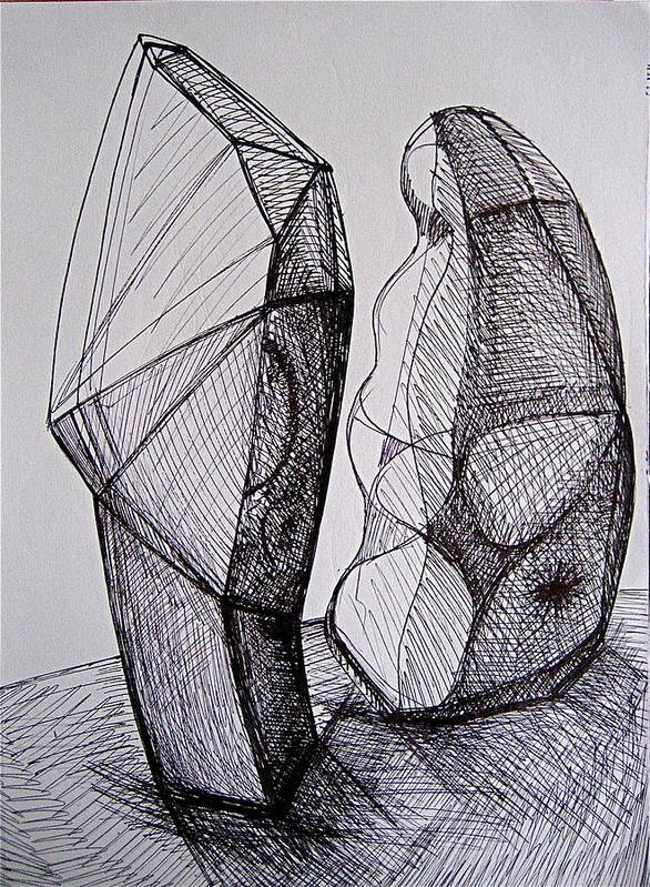 Ink Dawing Art Print featuring the drawing Standing Forms by Stephen Hawks