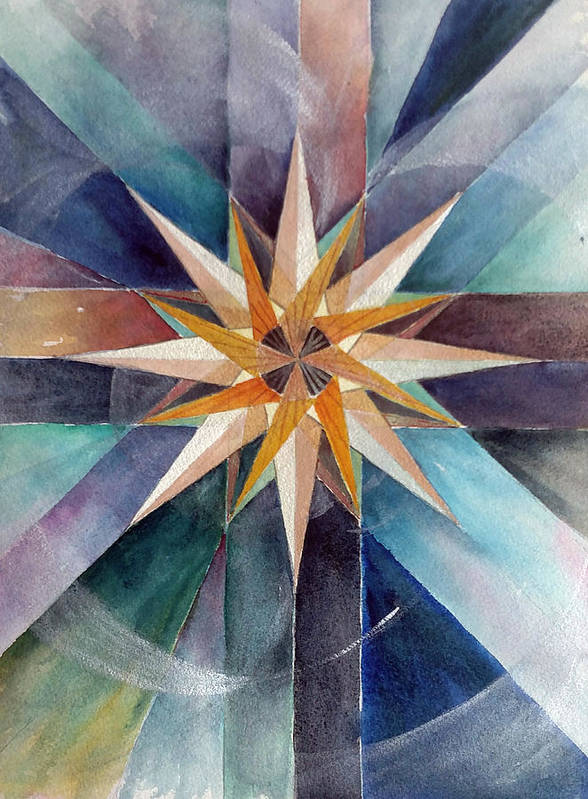 Star Art Print featuring the painting Star Mandala 2 by Christie Michelsen