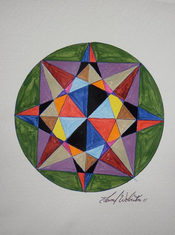 Wheel Art Print featuring the painting Star Of Judia by Edward Wolverton