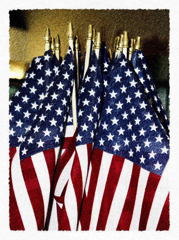 Flag Art Print featuring the digital art Stars And Stripes by Robert Sako
