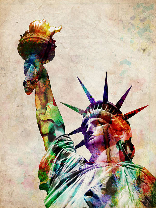 Statue Of Liberty Print featuring the digital art Statue Of Liberty by Michael Tompsett
