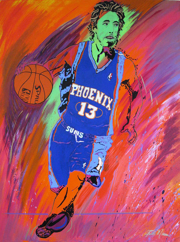 Steve Nash Paintings Art Print featuring the painting Steve Nash-vision Of Scoring by Bill Manson