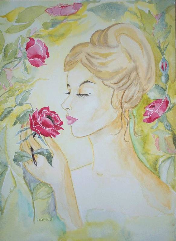 Roses Flowers Art Print featuring the painting Stop And Smell The Roses by Irenemaria