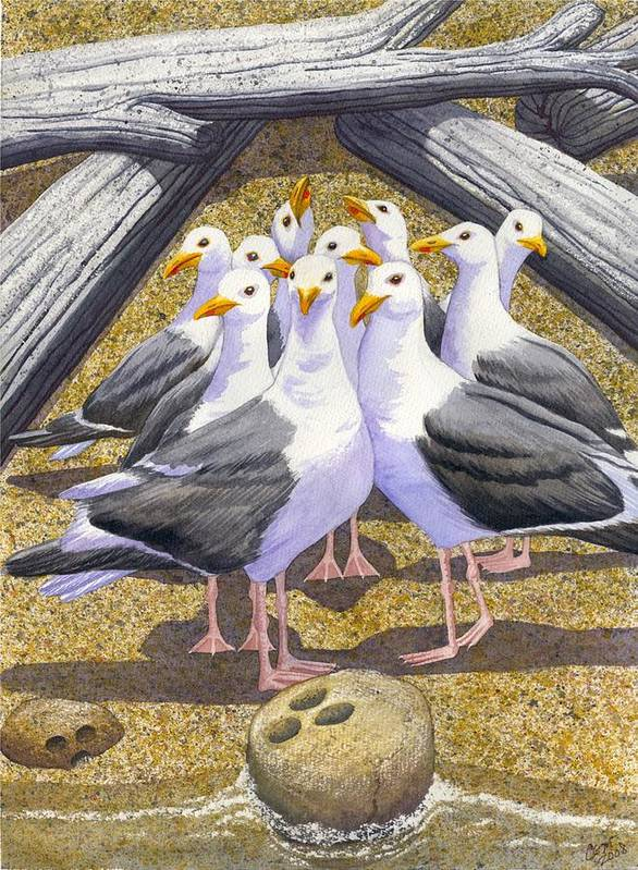 Beach Art Print featuring the painting Strike by Catherine G McElroy