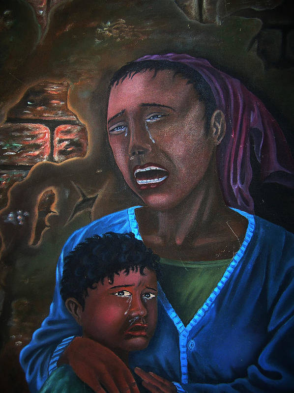 Haitian Fine Art Art Print featuring the painting Struggle And Pain by Pierre Etienne
