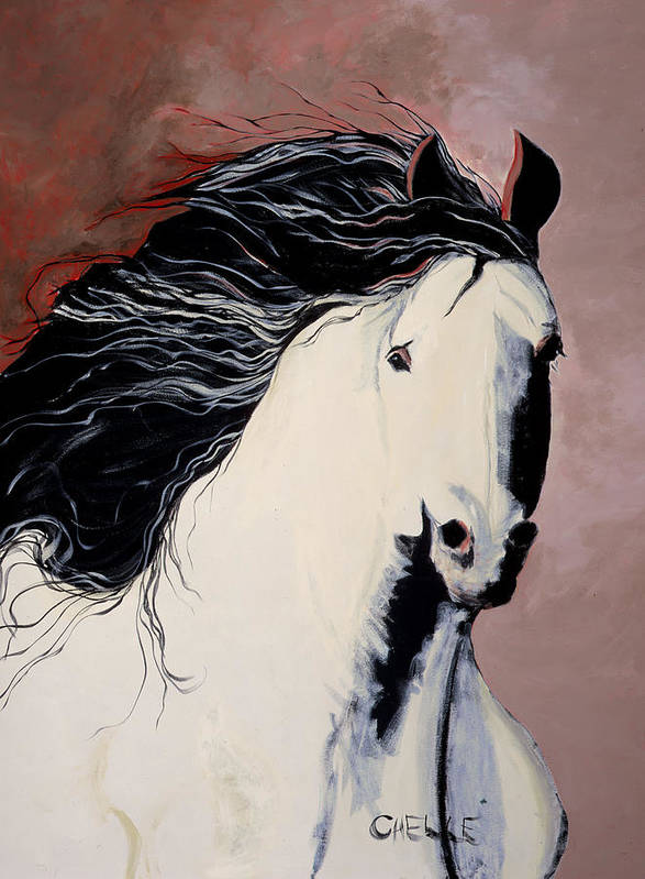 Horse Art Print featuring the painting Summer Breezes by Chelle Fazal