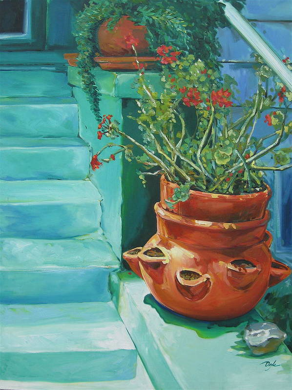 Flowers Art Print featuring the painting Summertime Geraniums In Santa Monica by Karen Doyle