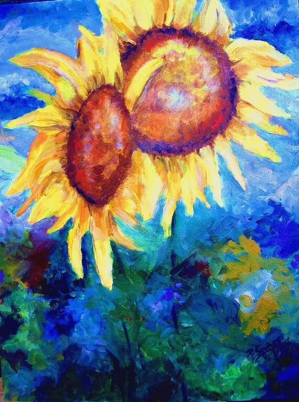 Flowers Art Print featuring the painting Sunflowers by Pamela Squires