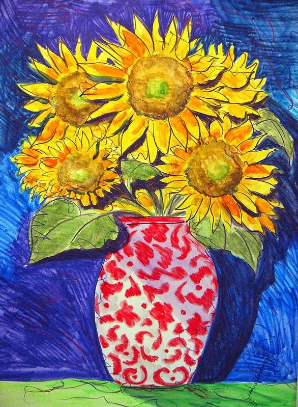 Sunflower Art Print featuring the painting Sunny Disposition by Jean Blackmer