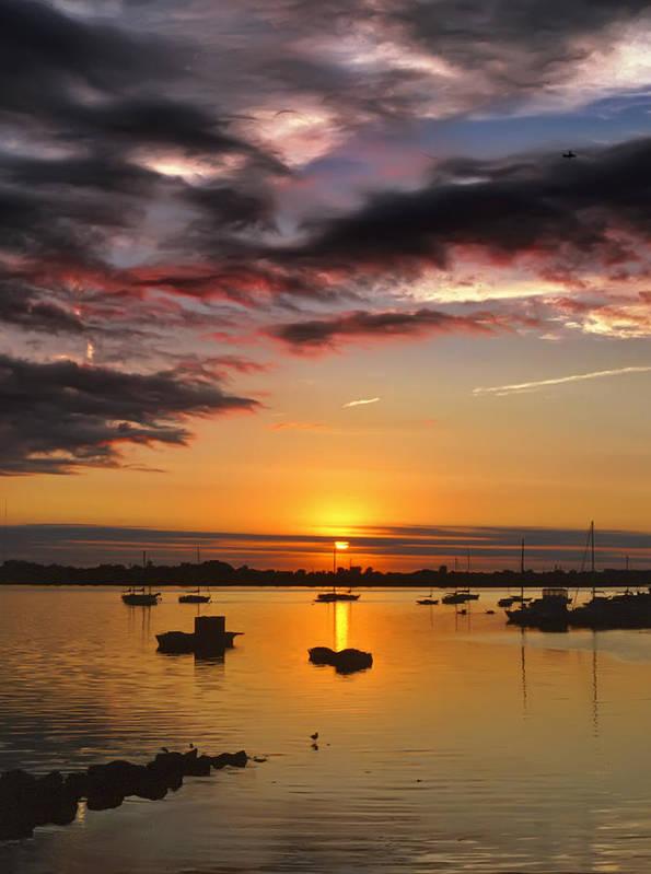 Sunrise Art Print featuring the photograph Sunrise Over City Island by Pat Carosone