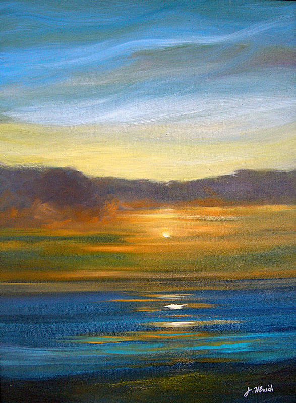Seascape Art Print featuring the painting Sunset 9 by Jeannette Ulrich