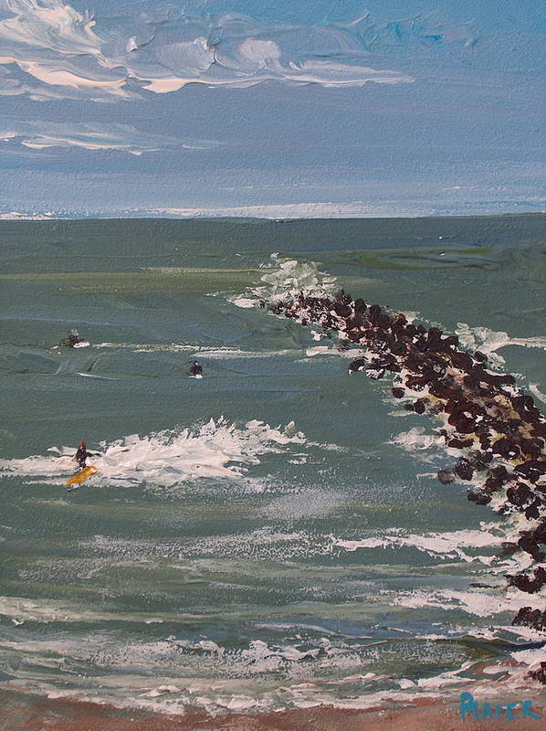 Seascape Art Print featuring the painting Surf's Up by Pete Maier