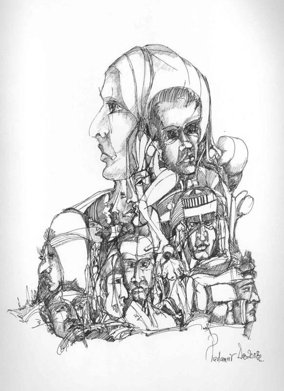 Faces Art Print featuring the drawing Surreal 11 by Padamvir Singh