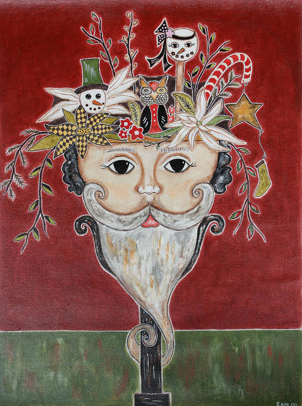 Christmas Paintings Art Print featuring the painting Surreal Santa Bouquet 1 by Rain Ririn