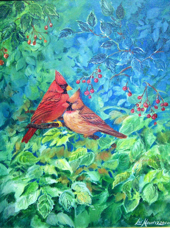 Cardinals;birds;berries; Art Print featuring the painting Sweet Contentment by Lois Mountz