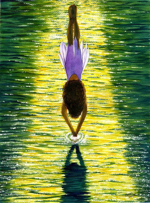 Dive Art Print featuring the painting Take The Plunge by Catherine G McElroy