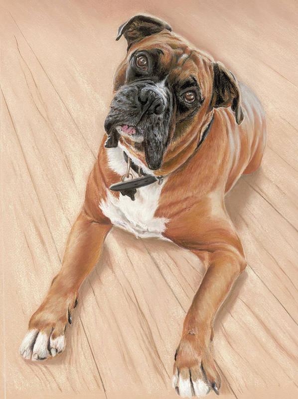 Art Print featuring the pastel Taz My Best Friend by Vanda Luddy