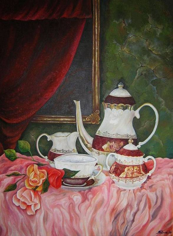 Still Life Art Print featuring the painting Tea Time by Netka Dimoska