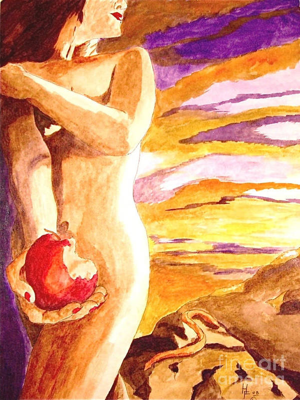 Watercolor Art Print featuring the painting Temptation by Herschel Fall