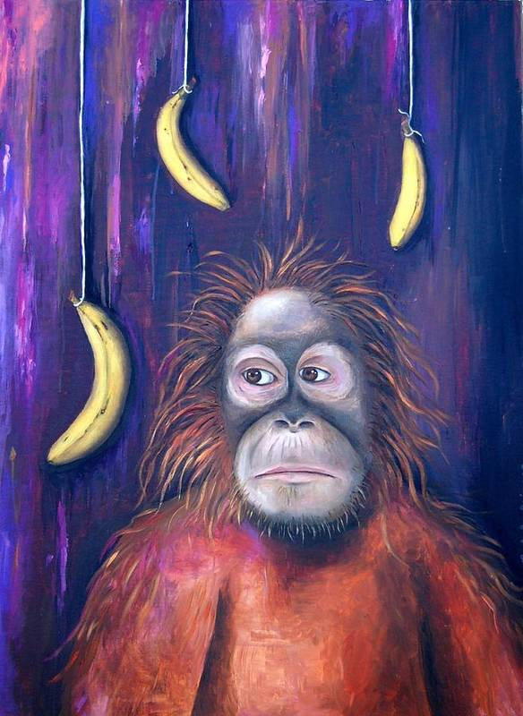Bananas.ape Art Print featuring the painting Temptation by Leah Saulnier The Painting Maniac