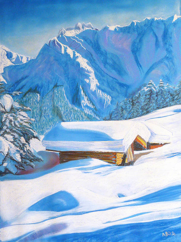 Snow Art Print featuring the pastel The Alpine Hut by Aymeric NOA