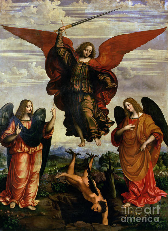 The Art Print featuring the painting The Archangels Triumphing Over Lucifer by Marco DOggiono