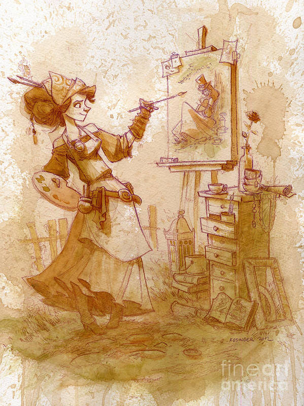Steampunk Art Print featuring the painting The Artist by Brian Kesinger