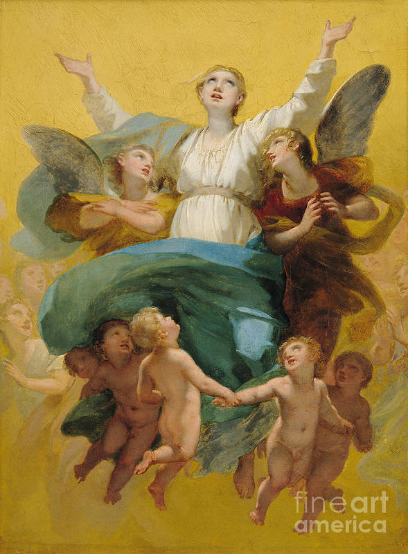 The Art Print featuring the painting The Assumption Of The Virgin by Pierre Paul Prudhon