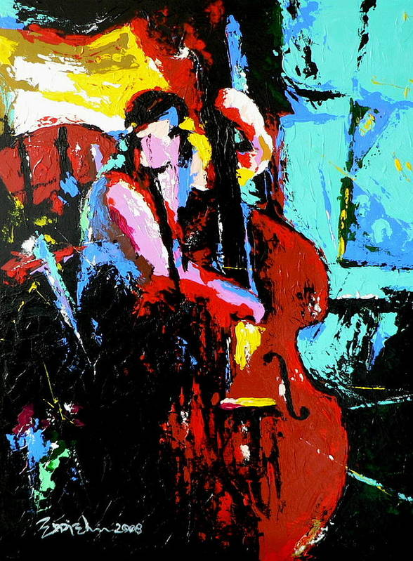 Jazz Music Art Print featuring the painting The Bassist by Eddie Lim
