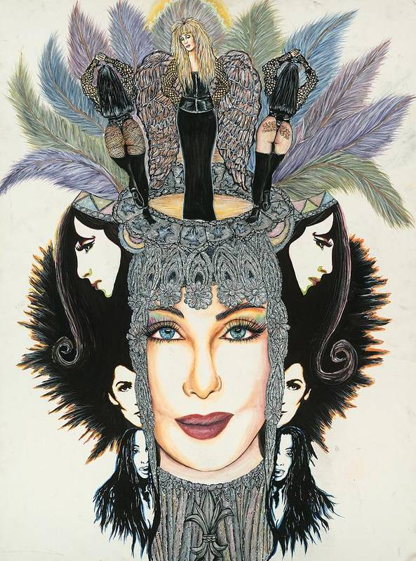 Cher Print featuring the mixed media The Cher-est Painting by Joseph Lawrence Vasile