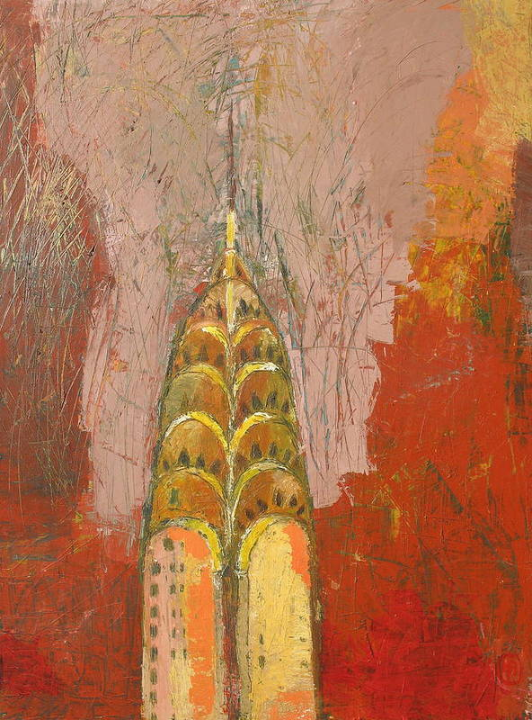 Abstract Cityscape Art Print featuring the painting The Chrysler In Motion by Habib Ayat
