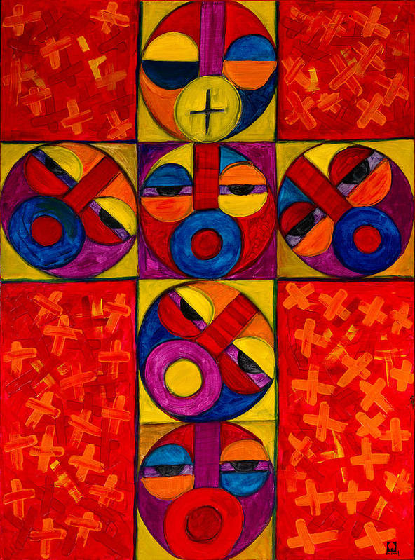 The Cross Art Print featuring the painting The Crucifix by Emeka Okoro
