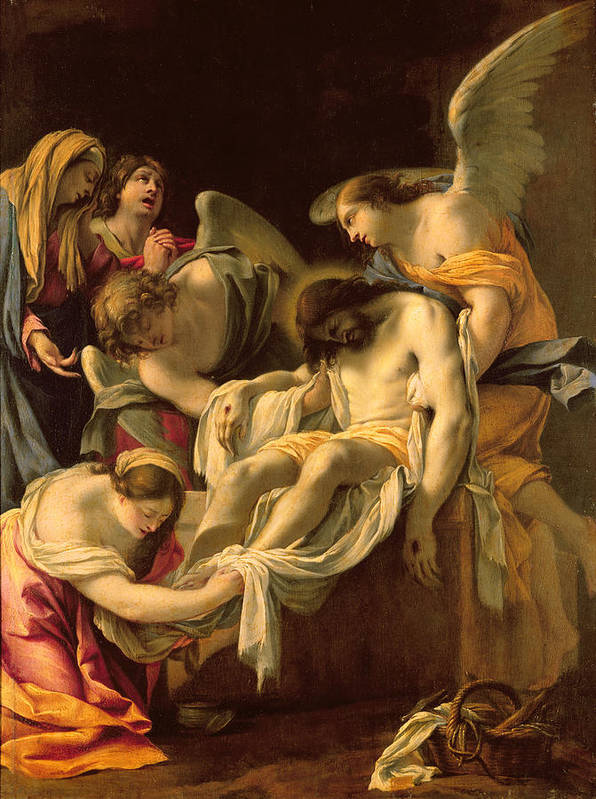 The Entombment (oil On Panel) By Simon Vouet (1590-1649) Print featuring the painting The Entombment by Simon Vouet