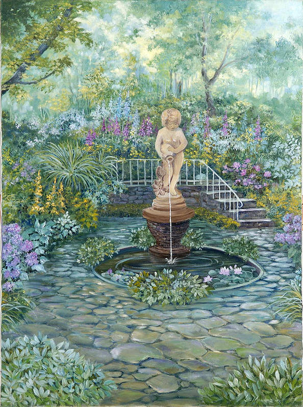 Fountain;statue;lily Pond;garden;oil Painting; Art Print featuring the painting The Garden Triptych Middle Painting by Lois Mountz