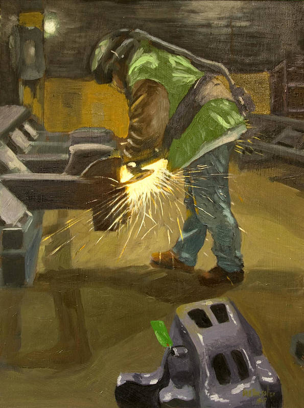 Industrial Art Print featuring the painting The Grinder by Martha Ressler