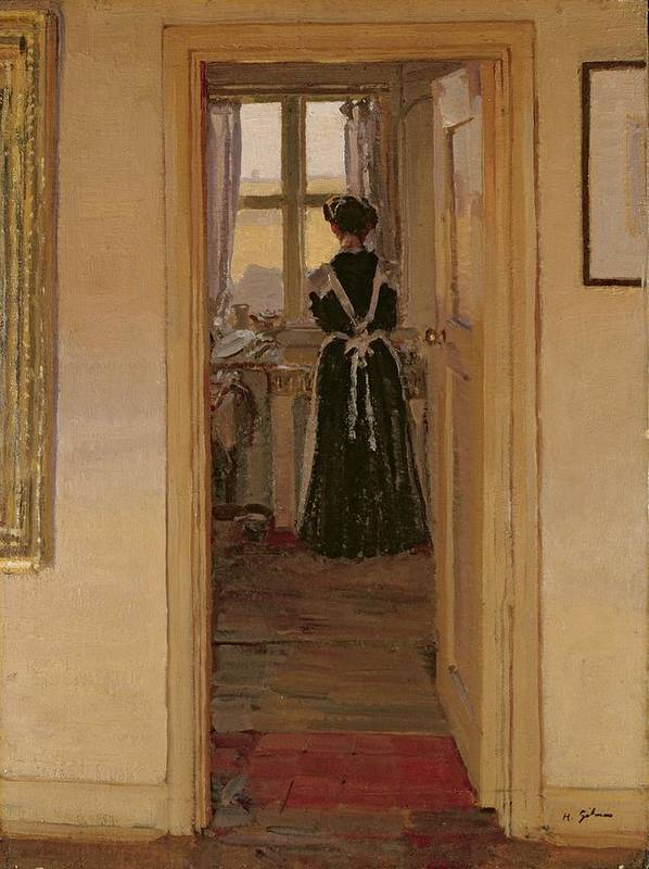 The Art Print featuring the painting The Kitchen by Harold Gilman