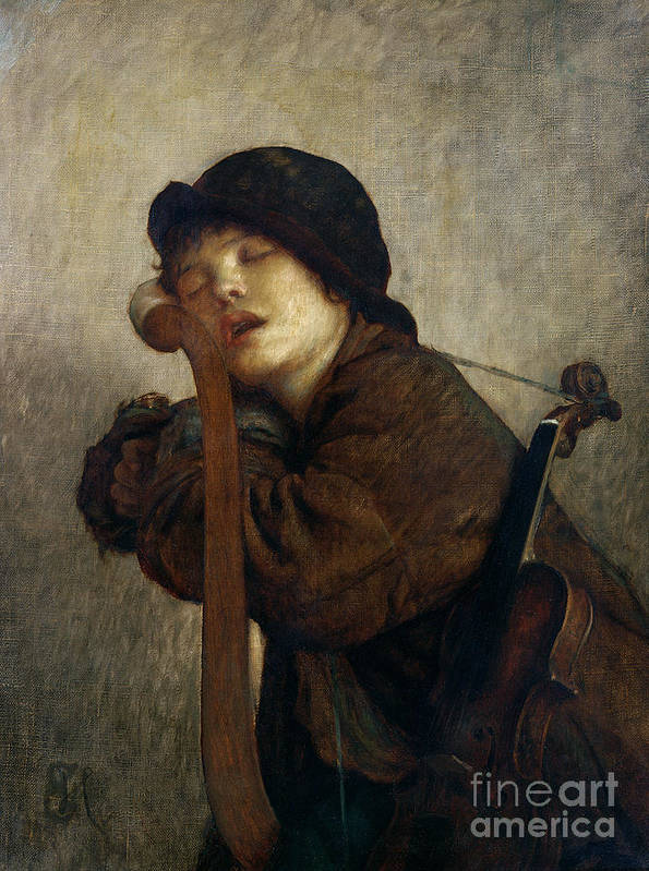 Boy Art Print featuring the painting The Little Violinist Sleeping by Antoine Auguste Ernest Hebert