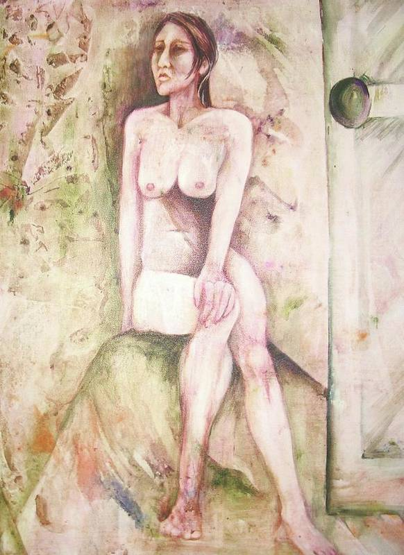 This Painting Might Also Be Entitled 'the Morning After A One Night Stand'. Seated Nude Woman Looking Away From Open Door. Abstract Background. Rendered In Browns Art Print featuring the painting The Morning After by Georgia Annwell