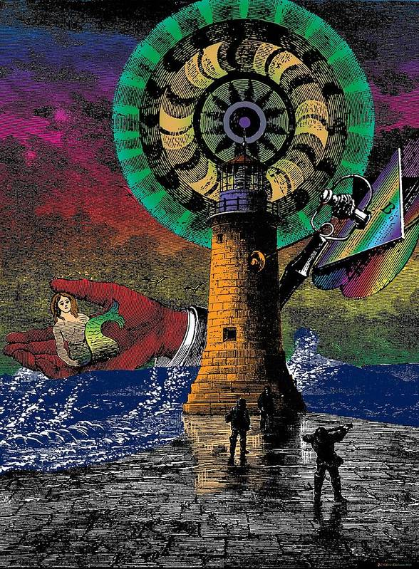 Lighthouse Art Print featuring the digital art The New Pharos by Eric Edelman