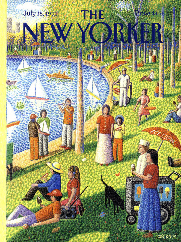 La Grande Jatte Art Print featuring the painting The New Yorker July 15th, 1991 by Bob Knox