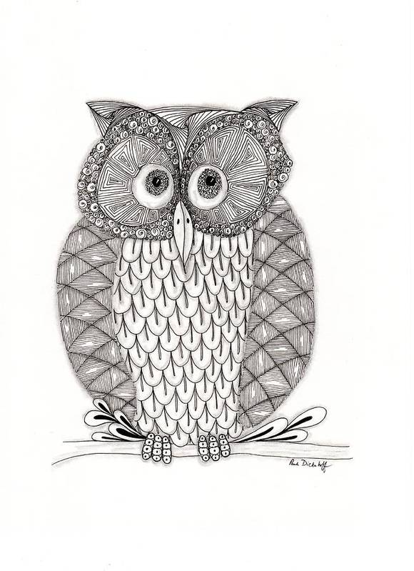 Owl Art Print featuring the drawing The Owl's Who by Paula Dickerhoff