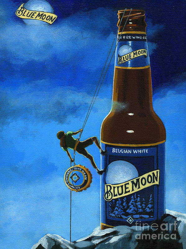 Blue Moon Beer Art Print featuring the painting The Peak Of Taste by Linda Apple