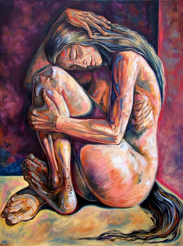 Figurative Art Print featuring the painting The Reflection Of The Long Hair Woman by Darwin Leon